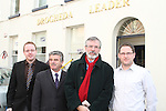 Sinn Fein President Gerry Adams at the Drogheda Leader Office with Arthur Morgan, Gordon Hatch and Ian Watters after announcing he is to seek his party's nomination in the Louth constituency for the next general election...(Photo credit should read Jenny Matthews www.newsfile.ie)....This Picture has been sent you under the condtions enclosed by:.Newsfile Ltd..The Studio,.Millmount Abbey,.Drogheda,.Co Meath..Ireland..Tel: +353(0)41-9871240.Fax: +353(0)41-9871260.GSM: +353(0)86-2500958.email: pictures@newsfile.ie.www.newsfile.ie.