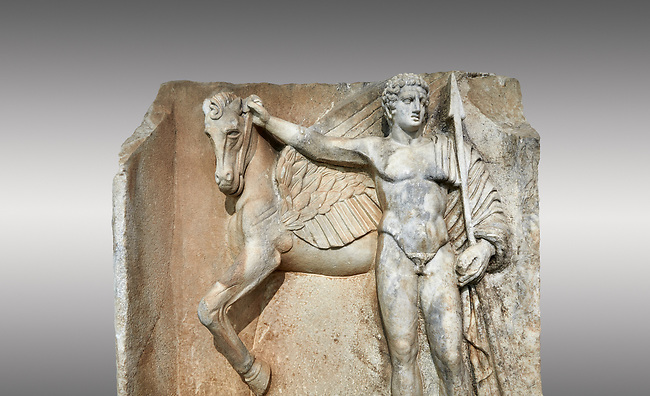 "Close up of a Roman Sebasteion relief  sculpture of  Bellerophon Aphrodisias Museum, Aphrodisias, Turkey.<br /> <br /> Bellerophon was a Lykian hero and was claimed as a founder of Aphrodisias. He holds his winged horse Pegasos. The deign was modelled on another relief panel in the series ""Royal hero with Dod Hunting"". The carving is poor and the sculptor may have been a novice.modelled"
