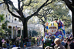 January 27, 2008 - The King Arthur Krewe parades down St. Charles Avenue throwing beads and other gifts to enthusiastic New Orleans families.