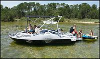 BNPS.co.uk (01202 558833)<br /> Pic: Sealver/BNPS<br /> <br /> Now the whole family can take to the water...<br /> <br /> Is it a boat - Is it a jetski....It's both!<br /> <br /> A futuristic-looking boat that is solely powered by a jetski has hit the market and it could be yours for less than &pound;8,000.<br /> <br /> The Sealver Wave Boat 444 works by allowing most mainstream jetskis to connect to the rear end, both powering and steering the boat. The jetski can then be detached at your leisure with the 14.5ft long vessel left anchored in the sea. <br /> <br /> The process of attaching and detaching the ski is quick and simple with customised adaptor kits allowing the likes of Yamaha, Kawasaki and Sea-Doo to hook up easily. <br /> <br /> Depending on the jetski powering it, the 617.2lb Wave Boat can reach speeds of 50 knots - the equivalent of 57mph.
