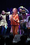 The Go-Go's: Belinda Carlisle performs with the castduring a special curtain call at Broadway's 'Head Over Heels' on July 12, 2018 at the Hudson Theatre in New York City.