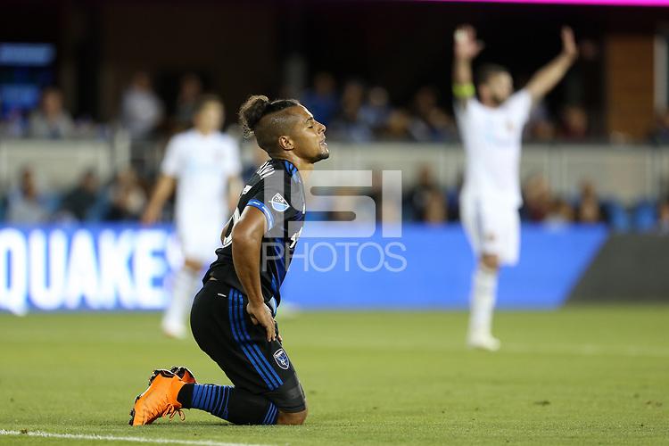 San Jose, CA - Saturday July 28, 2018: Quincy Amarikwa during a Major League Soccer (MLS) match between the San Jose Earthquakes and Real Salt Lake at Avaya Stadium.