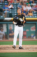 Matt Thaiss (17) of the Salt Lake Bees bats against the New Orleans Baby Cakes at Smith's Ballpark on June 8, 2018 in Salt Lake City, Utah. Salt Lake defeated New Orleans 4-0.  (Stephen Smith/Four Seam Images)