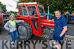 Joan Griffin (Ardfert) and Darragh O'Shea (Tralee) enjoying the Ardfert Tractor Run fundraiser for the staff of UHK on Sunday.