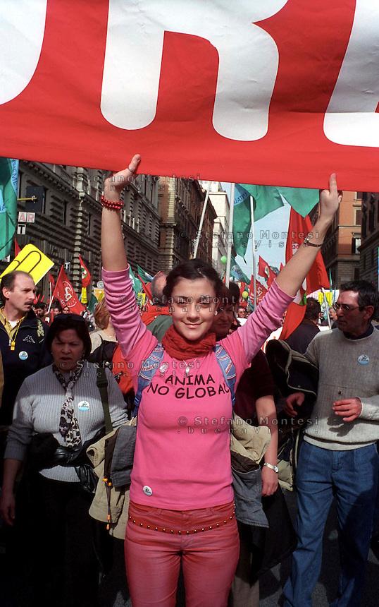 Roma 02-03-2002..Manifestazione nazionale dell'Ulivo contro il Governo Berlusconi...02/03/2002 Rome..National demonstration against the Berlusconi government of the Olive Tree coalition ...