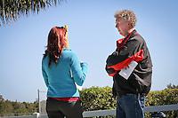 Dan Shaughnessy Boston Glob columnist,  Closing pitcher Jonathan Papelbon speaks to press as the Boston Red Sox return for spring training, Fort Myers, Florida, USA, Feb. 13, 2011. Photo by Debi Pittman Wilkey closing pitcher Jonathan Papelbon