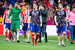 Atletico de Madrid Jan Oblak, Filipe Luis, Sime Vrsaljko, Fernando Torres and Gabi Fernandez celebrating the victory during Europa League Semi Finals First Leg match between Atletico de Madrid and Arsenal FC at Wanda Metropolitano in Madrid, Spain. May 03, 2018.  (ALTERPHOTOS/Borja B.Hojas)