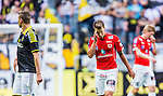 Solna 2014-07-12 Fotboll Allsvenskan AIK - Kalmar FF :  <br /> Kalmars Melker Hallberg deppar<br /> (Foto: Kenta J&ouml;nsson) Nyckelord:  AIK Gnaget Friends Arena Kalmar KFF depp besviken besvikelse sorg ledsen deppig nedst&auml;md uppgiven sad disappointment disappointed dejected