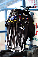Picture by Paul Greenwood/SWpix.com - 27/04/2018 - Rugby League - Betfred Super League - Widnes Vikings v Wigan Warriors - Select Security Stadium, Widnes, England - Widnes Vikings players shirts hanging on a rail in the dugout prior to kick-off