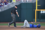 OMAHA, NE - JUNE 26: Dalton Guthrie (5) of the University of Florida lays on the ground in pain after being called out at second base against Louisiana State University during the Division I Men's Baseball Championship held at TD Ameritrade Park on June 26, 2017 in Omaha, Nebraska. The University of Florida defeated Louisiana State University 4-3 in game one of the best of three series. (Photo by Jamie Schwaberow/NCAA Photos via Getty Images)