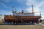 Port Townsend, Boat Haven, classic yachts, wooden, Yacht, Pelican, on the hard for repairs, Port of Port Townsend, Jefferson County, Olympic Peninsula, Puget Sound, Washington State, Pacific Northwest, USA,
