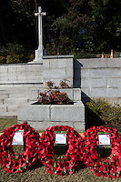 Wreaths of poppies at a Ceremony for Remembrance Sunday at the Commonwealth War Graves Cemetery in Hodogaya, Yokohama, Japan. Sunday November 13th 2016. Each year representatives of the Commonwealth nations, along with American and other European nations that lost servicemen fighting the Japanese in World War 2, hold a multi-faith service of remembrance at this cemetery. This is the only cemetery for war dead in japan that is managed by the Commonwealth War Graves Commission.