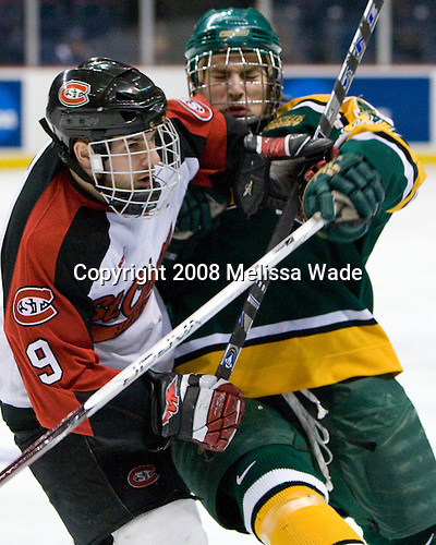 Garrett Roe (St. Cloud 9), Shea Guthrie (Clarkson 91) - The Clarkson University Golden Knights defeated the St. Cloud University Huskies 2-1 in the NCAA East Regional Semifinal on Friday, March 28, 2008, at the Times Union Center in Albany, New York.