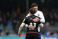 Matt Banahan of Bath Rugby embraces Alex Goode of Saracens after the match. Aviva Premiership match, between Saracens and Bath Rugby on April 15, 2018 at Allianz Park in London, England. Photo by: Patrick Khachfe / Onside Images