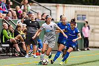 Seattle, WA - Sunday, August 13, 2017: Ashley Hatch, Nahomi Kawasumi during a regular season National Women's Soccer League (NWSL) match between the Seattle Reign FC and the North Carolina Courage at Memorial Stadium.