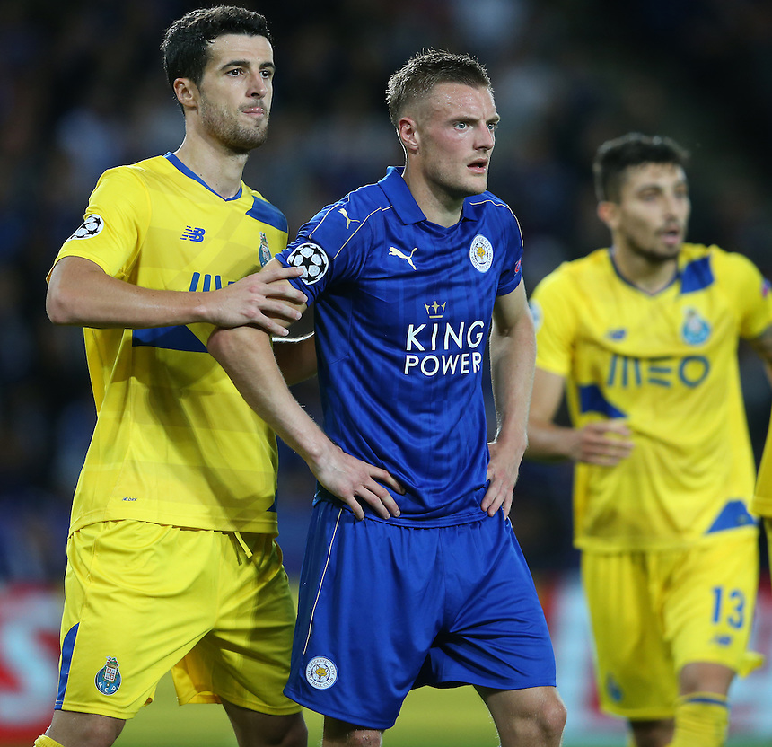 Leicester City's Jamie Vardy closely marked by FC Porto's Ivan Marcano<br /> <br /> Photographer Stephen White/CameraSport<br /> <br /> UEFA Champions League - Group G - Leicester City v FC Porto - Tuesday 27th September 2016 - King Power Stadium - Leicester <br />  <br /> World Copyright &copy; 2016 CameraSport. All rights reserved. 43 Linden Ave. Countesthorpe. Leicester. England. LE8 5PG - Tel: +44 (0) 116 277 4147 - admin@camerasport.com - www.camerasport.com