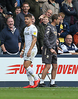 Leeds United's Gaetano Berardi walks off after receiving a red card<br /> <br /> Photographer Rob Newell/CameraSport<br /> <br /> The EFL Sky Bet Championship - Millwall v Leeds United - Saturday 5th October 2019 - The Den - London<br /> <br /> World Copyright © 2019 CameraSport. All rights reserved. 43 Linden Ave. Countesthorpe. Leicester. England. LE8 5PG - Tel: +44 (0) 116 277 4147 - admin@camerasport.com - www.camerasport.com