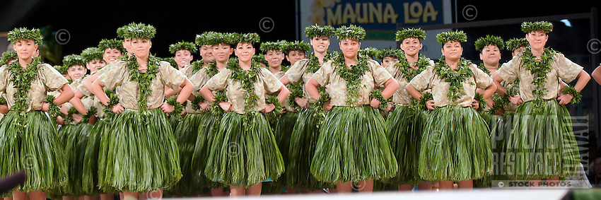 Panorama of dancers at Merrie Monarch hula festival in Hilo, on the Big island of Hawaii