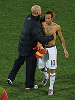 Bob Bradley manager of USA tries to console Landon Donovan of USA. Ghana defeated the USA 2-1 in overtime in the 2010 FIFA World Cup at Royal Bafokeng Stadium in Rustenburg, South Africa on June 26, 2010.