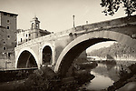 The Pons Fabricius is the oldest bridge in Rome, built in 62 B.C. across the Tiber River by Lucius Fabricius.