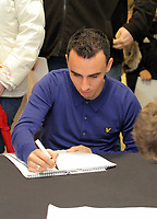 Pictured: Leon Britton signing copies of the new Swansea City FC calendar at the Liberty Stadium, Swansea south Wales. Thursday 02 december 2011<br />