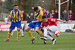 © Joel Goodman - 07973 332324 . 25/04/2015 . Salford , UK . Salford's Matt Chadwick winning the ball . Evostick League champions , Salford FC , play Osset Town , in Salford . Photo credit : Joel Goodman