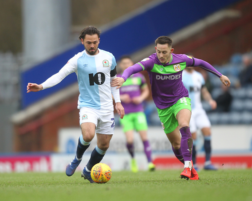 Blackburn Rovers Bradley Dack battles with  Bristol City's Josh Brownhill<br /> <br /> Photographer Mick Walker/CameraSport<br /> <br /> The EFL Sky Bet Championship - Blackburn Rovers v Bristol City - Saturday 9th February 2019 - Ewood Park - Blackburn<br /> <br /> World Copyright © 2019 CameraSport. All rights reserved. 43 Linden Ave. Countesthorpe. Leicester. England. LE8 5PG - Tel: +44 (0) 116 277 4147 - admin@camerasport.com - www.camerasport.com