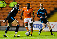 Blackpool's Joe Dodoo takes on West Bromwich Albion U21&rsquo;s Kyle Howkins<br /> <br /> Photographer Alex Dodd/CameraSport<br /> <br /> The EFL Checkatrade Trophy Northern Group C - Blackpool v West Bromwich Albion U21 - Tuesday 9th October 2018 - Bloomfield Road - Blackpool<br />  <br /> World Copyright &copy; 2018 CameraSport. All rights reserved. 43 Linden Ave. Countesthorpe. Leicester. England. LE8 5PG - Tel: +44 (0) 116 277 4147 - admin@camerasport.com - www.camerasport.com