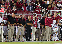 STANFORD, CA - August 31, 2012: Coach David Shaw watches Jordan Williamson's 46 yard field goal to end the half in Stanford's game vs San Jose State. Stanford won 20-17.
