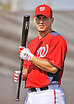 19 February 2011: Washington Nationals' catcher Wilson Ramos prepares for hitting drills during Spring Training at the Carl Barger Baseball Complex in Viera, Florida. Mandatory Credit: Ed Wolfstein Photo