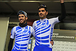 Stylianos Farantakis and Polychronis Tzortzakis of Greece at sign on before the Men Elite Road Race of the UCI World Championships 2019 running 280km from Leeds to Harrogate, England. 29th September 2019.<br /> Picture: Eoin Clarke | Cyclefile<br /> <br /> All photos usage must carry mandatory copyright credit (© Cyclefile | Eoin Clarke)