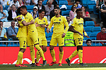 Villarreal CF's players celebrate goal during La Liga match between Real Madrid and Villarreal CF at Santiago Bernabeu Stadium in Madrid, Spain. May 05, 2019. (ALTERPHOTOS/A. Perez Meca)
