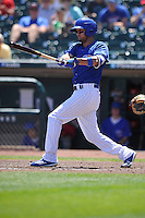 Iowa Cubs Kristopher Negron (19) swings during the Pacific Coast League game against the Memphis Redbirds at Principal Park on June 7, 2016 in Des Moines, Iowa.  Iowa won 6-5.  (Dennis Hubbard/Four Seam Images)