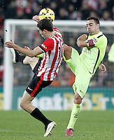 Atletic de Bilbao's Oscar de Marcos (l) and FC Barcelona's Xavi Hernandez during La Liga match.February 8,2015. (ALTERPHOTOS/Acero) /NORTEphoto.com