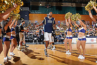 12 January 2012:  FIU center Brandon Moore (22) is welcomed to the court prior to the game.  The Middle Tennessee State University Blue Raiders defeated the FIU Golden Panthers, 70-59, at the U.S. Century Bank Arena in Miami, Florida.