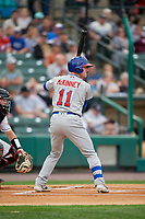 Buffalo Bisons Billy McKinney at bat during an International League game against the Rochester Red Wings on May 31, 2019 at Frontier Field in Rochester, New York.  Rochester defeated Buffalo 5-4 in ten innings.  (Mike Janes/Four Seam Images)