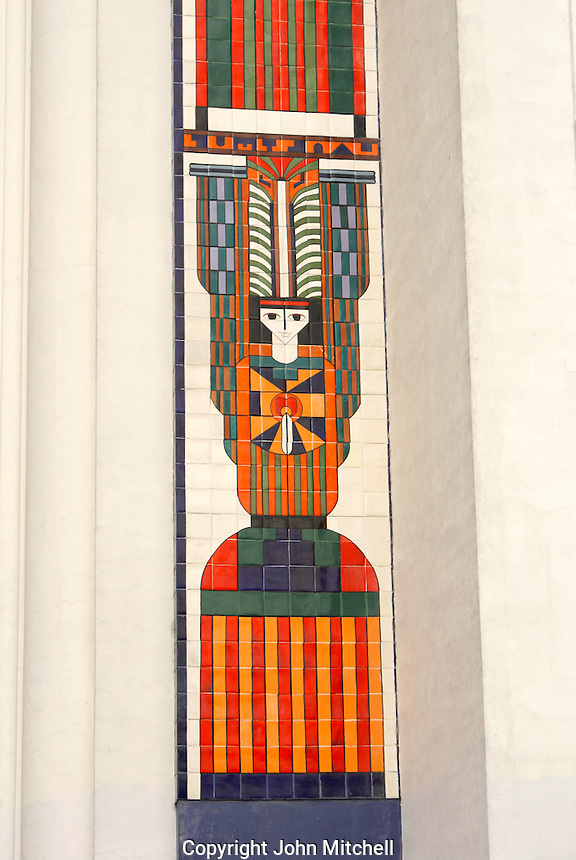 Mosaic design by Salvadoran artist Fernando Llort on the front of the Metropolitan Cathedral or Catedral Metropolitano on Plaza Barrios downtown Salvador, El Salvador