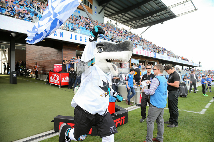 San Jose, CA - Saturday March 31, 2018: San Jose Sharks mascot during a Major League Soccer (MLS) match between the San Jose Earthquakes and New York City FC at Avaya Stadium.