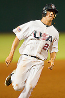 Mitch Nay #29 of the USA 18u National Team hustles towards third base against the USA Baseball Collegiate National Team at the USA Baseball National Training Center on July 2, 2011 in Cary, North Carolina.  The College National Team defeated the 18u team 8-1.  Brian Westerholt / Four Seam Images