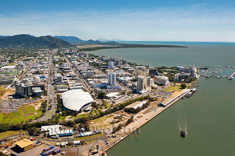 Aerial view of harbour and central business district.  Cairns, Queensland, Australia