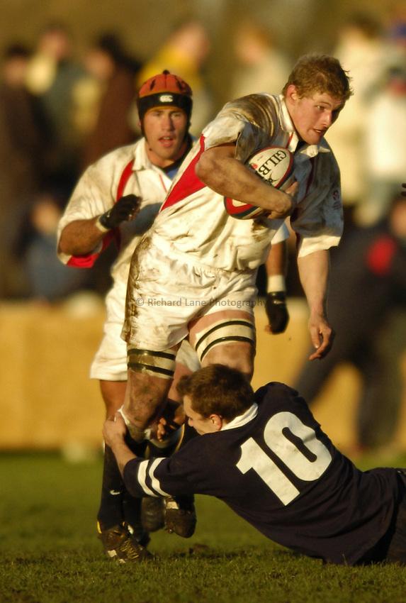 Photo. Jed Wee..England U19 v Scotland U19, U19 Six Nations Championship, Woodlands Stadium, Lytham St Annes. 16/01/2004..England's Chris Goodman (L).