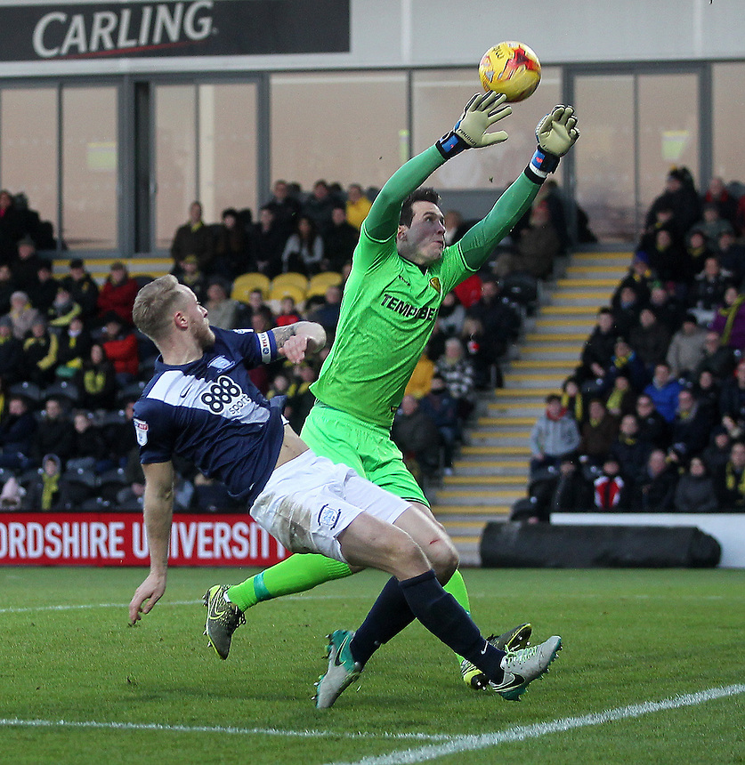 Preston North End's Tom Clarke scores his sides first goal   beating Burton Albion's Jon McLaughlin<br /> <br /> Photographer Mick Walker/CameraSport<br /> <br /> The EFL Sky Bet Championship - Burton Albion v Preston North End - Monday 2nd January 2017 - Pirelli Stadium - Burton upon Trent<br /> <br /> World Copyright &copy; 2017 CameraSport. All rights reserved. 43 Linden Ave. Countesthorpe. Leicester. England. LE8 5PG - Tel: +44 (0) 116 277 4147 - admin@camerasport.com - www.camerasport.com
