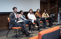 "United Nations Week 2019: Gender, Sexuality and Collective Action presents, ""Intersectionality, Inequality, and Collective Action"" on <br /> Tuesday, February 5, 2019 in Choi Auditorium.<br /> Seated from left: moderator Phillip Ayoub, DWA Associate Professor; Malliga Och, Assistant Professor in the Global Studies and Language Department of Idaho State University; Jeanne Holm, Deputy CIO for the city of Los Angeles; Alia Ali, Yemeni-Bosnian-American multimedia artist and visual storyteller and Funmilola Fagbamila, Nigerian American scholar, playwright, and artist.<br /> (Photo by Marc Campos, Occidental College Photographer)"