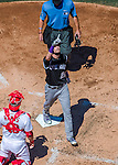 28 August 2016: Colorado Rockies outfielder and Baseball America top prospect David Dahl crosses the plate after hitting a solo home run in the 3rd inning against the Washington Nationals at Nationals Park in Washington, DC. The Rockies defeated the Nationals 5-3 to take the rubber match of their 3-game series. Mandatory Credit: Ed Wolfstein Photo *** RAW (NEF) Image File Available ***