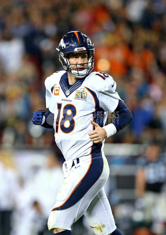 Feb 7, 2016; Santa Clara, CA, USA; Denver Broncos quarterback Peyton Manning (18) after throwing his final pass of the game for a successful two pint conversionagainst the Carolina Panthers in the fourth quarter of Super Bowl 50 at Levi's Stadium. Mandatory Credit: Mark J. Rebilas-USA TODAY Sports
