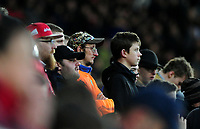 Burnley fan watches on during the game<br /> <br /> Photographer Ashley Crowden/CameraSport<br /> <br /> The Premier League - Swansea City v Burnley - Saturday 10th February 2018 - Liberty Stadium - Swansea<br /> <br /> World Copyright &copy; 2018 CameraSport. All rights reserved. 43 Linden Ave. Countesthorpe. Leicester. England. LE8 5PG - Tel: +44 (0) 116 277 4147 - admin@camerasport.com - www.camerasport.com