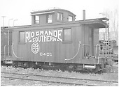 RGS caboose #0401 at Ridgway.<br /> RGS  Ridgway, CO  Taken by Richardson, Robert W. - 5/24/1951