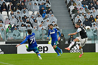 1st December 2019; Allianz Stadium, Turin, Italy; Serie A Football, Juventus versus Sassuolo; Leonardo Bonucci of Juventus shoots and scores the goal for 1-0 for Juventus in the 20th minute - Editorial Use