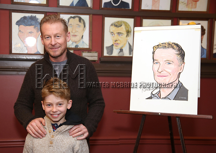 Richard Roxburgh, Raphael Roxburgh attend the Cate Blanchett and Richard Roxburgh Caricature Unveiling at Sardi's on March 14, 2017 in New York City.