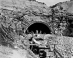 Hopedale OH:  Construction work at the west end of the Warren Tunnel - 1903. The Pittsburgh, Toledo and Western Railroad company, owned by the famous George J. Gould,  hired Brady Stewart to document the track and tunnel construction between Hopedale Ohio and downtown Pittsburgh.